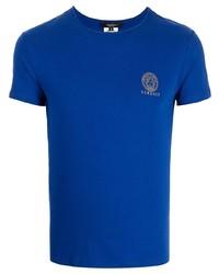 Camiseta con cuello circular azul marino de Versace