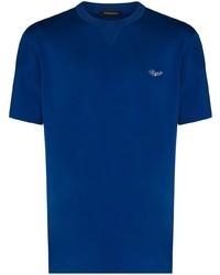 Camiseta con cuello circular azul de Ermenegildo Zegna