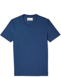 Camiseta con cuello circular azul de Maison Margiela