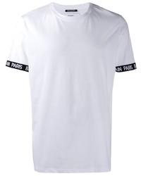 Camiseta con cuello circular blanca de Balmain