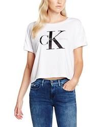 Camiseta con cuello circular blanca de Calvin Klein