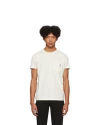 Camiseta con cuello circular blanca de Diesel