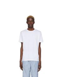 Camiseta con cuello circular blanca de Sunspel