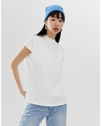 Camiseta con cuello circular blanca de Weekday