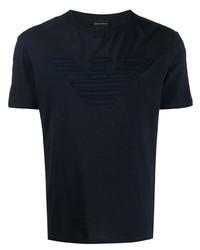 Camiseta con cuello circular bordada azul marino de Emporio Armani