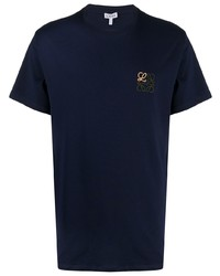 Camiseta con cuello circular bordada azul marino de Loewe