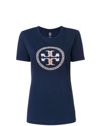 Camiseta con cuello circular bordada azul marino de Tory Burch