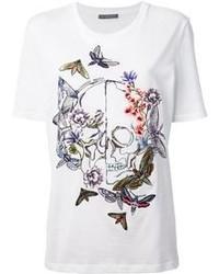 Camiseta con cuello circular bordada blanca de Alexander McQueen