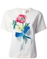 Camiseta con cuello circular bordada blanca de Antonio Marras