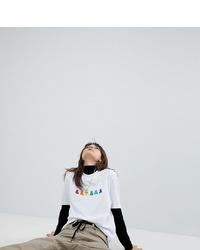 Camiseta con cuello circular bordada blanca de ASOS DESIGN