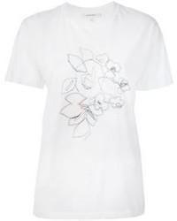 Camiseta con cuello circular bordada blanca de Carven