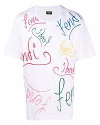 Camiseta con cuello circular bordada blanca de Fendi