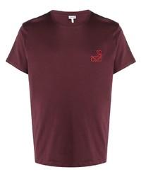 Camiseta con cuello circular bordada burdeos de Loewe