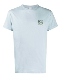 Camiseta con cuello circular bordada celeste de Loewe