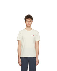 Camiseta con cuello circular bordada en beige de AMI Alexandre Mattiussi