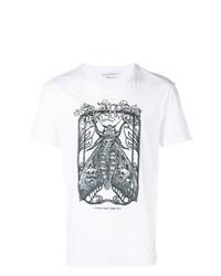 Camiseta con cuello circular bordada en blanco y negro de Alexander McQueen