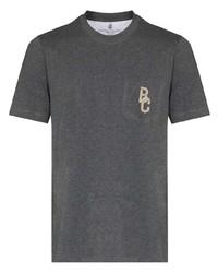 Camiseta con cuello circular bordada en gris oscuro de Brunello Cucinelli