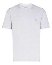 Camiseta con cuello circular bordada gris de Brunello Cucinelli
