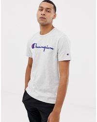 Camiseta con cuello circular bordada gris de Champion