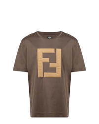 Camiseta con cuello circular bordada marrón de Fendi
