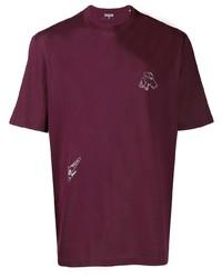 Camiseta con cuello circular bordada morado oscuro de Lanvin