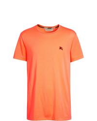 Camiseta con cuello circular bordada naranja de Burberry