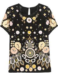 Camiseta con cuello circular bordada negra