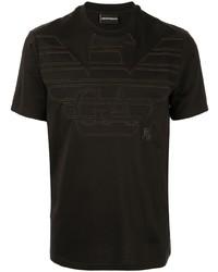 Camiseta con cuello circular bordada negra de Emporio Armani