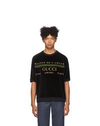 Camiseta con cuello circular bordada negra de Gucci