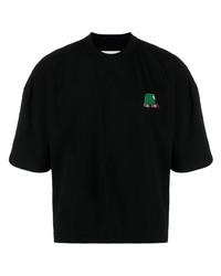 Camiseta con cuello circular bordada negra de Henrik Vibskov