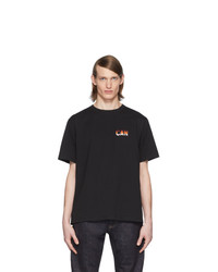 Camiseta con cuello circular bordada negra de Lemaire