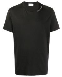 Camiseta con cuello circular bordada negra de Salvatore Ferragamo