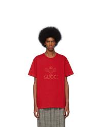 Camiseta con cuello circular bordada roja de Gucci