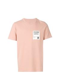 Camiseta con cuello circular bordada rosada de Maison Margiela