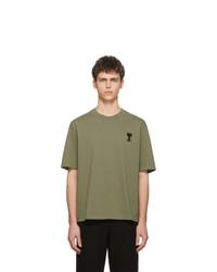 Camiseta con cuello circular bordada verde oliva de AMI Alexandre Mattiussi