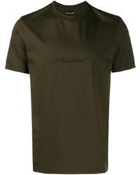 Camiseta con cuello circular bordada verde oliva de Emporio Armani