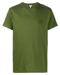 Camiseta con cuello circular bordada verde oliva de Loewe