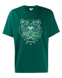 Camiseta con cuello circular bordada verde oscuro de Kenzo
