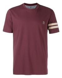 Camiseta con cuello circular burdeos de Brunello Cucinelli