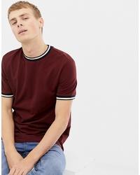 Camiseta con cuello circular burdeos de New Look