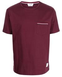 Camiseta con cuello circular burdeos de Thom Browne