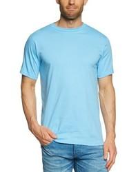 Camiseta con cuello circular celeste de Anvil