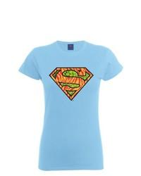 Camiseta con Cuello Circular Celeste de DC Comics