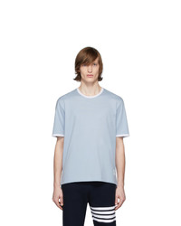 Camiseta con cuello circular celeste de Thom Browne