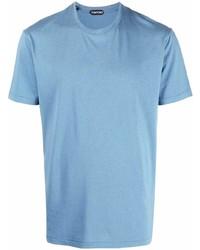 Camiseta con cuello circular celeste de Tom Ford