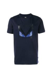 Camiseta con cuello circular con adornos azul marino de Fendi
