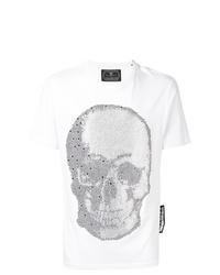 Camiseta con cuello circular con adornos blanca de Philipp Plein