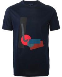 Camiseta con cuello circular con estampado geométrico azul marino