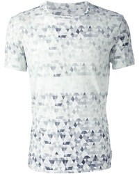 Camiseta con cuello circular con estampado geométrico blanca