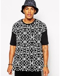 Camiseta con cuello circular con estampado geométrico en negro y blanco de Asos